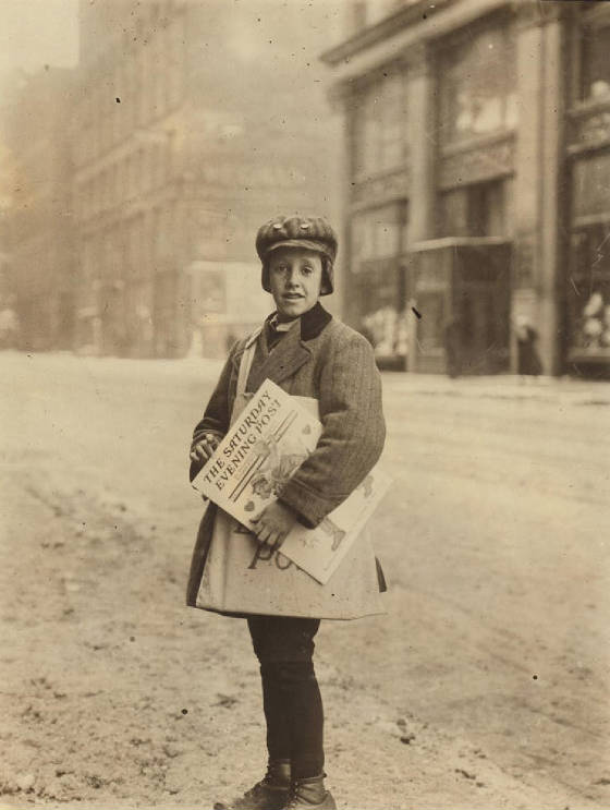 Marshall Knox, 10 yrs old, Rochester, NY, Feb 1910. Photo by Lewis Hine.