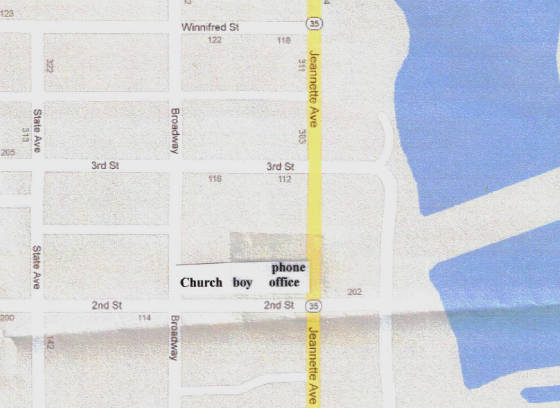 Location of church, Charles Thompson and phone office noted. Map from Google Maps.