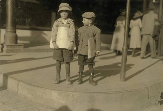 (L-R) Odell McDuffey (6), & Sam Stillman (7), Dallas, TX, Oct. 1913. Photo by Lewis Hine.