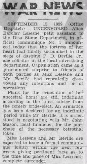 Newspaper engagement announcement in 1939.