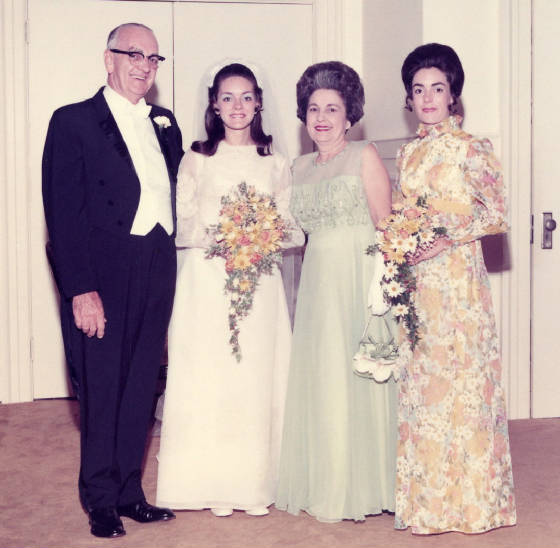 Linda Beville's wedding in 1972. (L-R): Phares Beville, Linda, mother Alice, and sister Barclay.