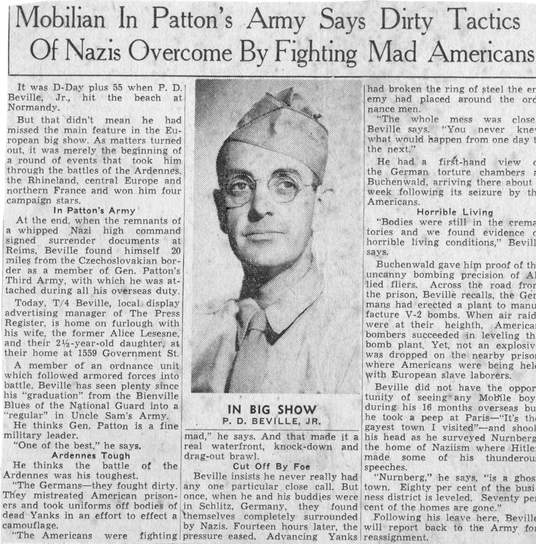 The following is a 1945 article about Phares Beville serving in World War II. It is a copy of a newspaper clipping provided by his daughter Linda Arnold.