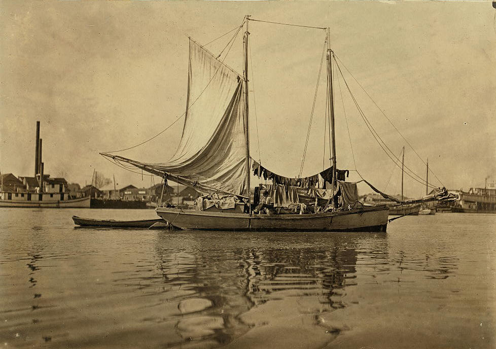 Ramsey Summerford on oyster boat, Apalachicola, Fl, Jan 25, 1909. by Lewis Hine.