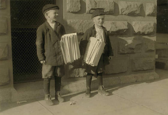 Louis (left), 9 yrs. old & Rudolph Kartous, 7 yrs old., Dallas, TX, Oct. 1913. Photo by Lewis Hine.