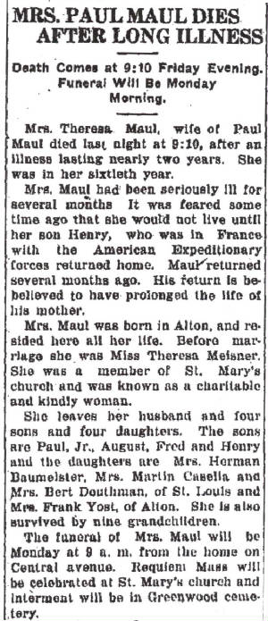 Death of Henry's mother. Alton Telegraph, August 9, 1919.