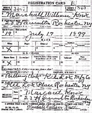 World War I draft registration, 1918.