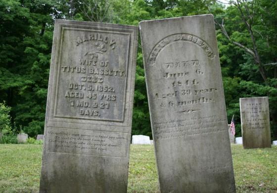 Bassett gravestones, Houghton Cemetery, Stamford, Vermont, 2007.