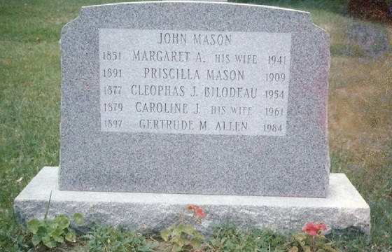 Oak Hill Cemetery, Auburn, Maine. Provided by Mason family.