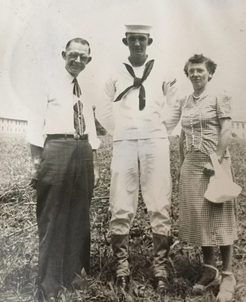 Robert, with parents, while he was in the Navy, 1951.